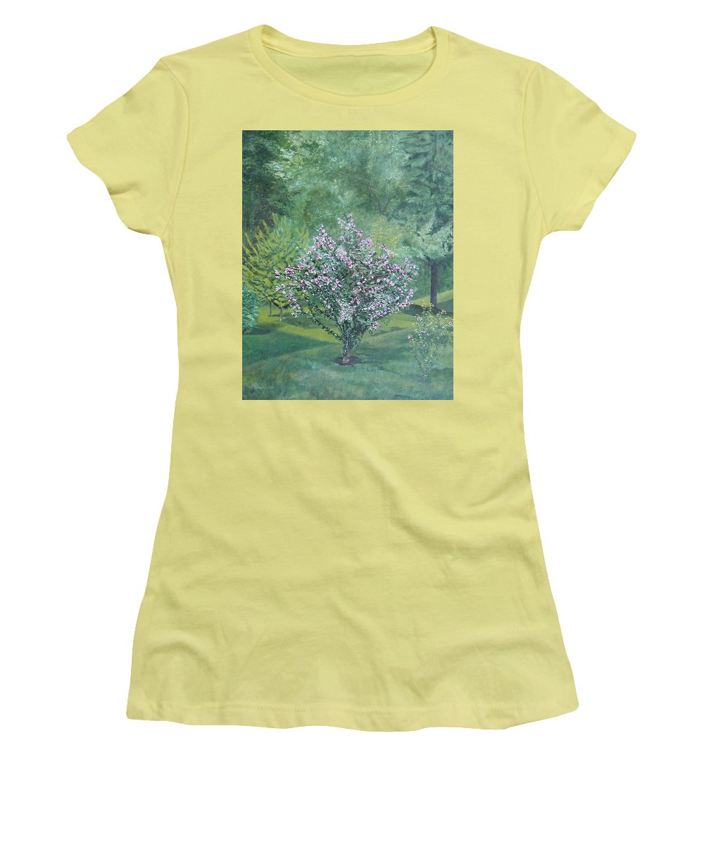 Blooming Women's T-Shirt (Athletic Fit) featuring the painting Charles Street by Leah Tomaino