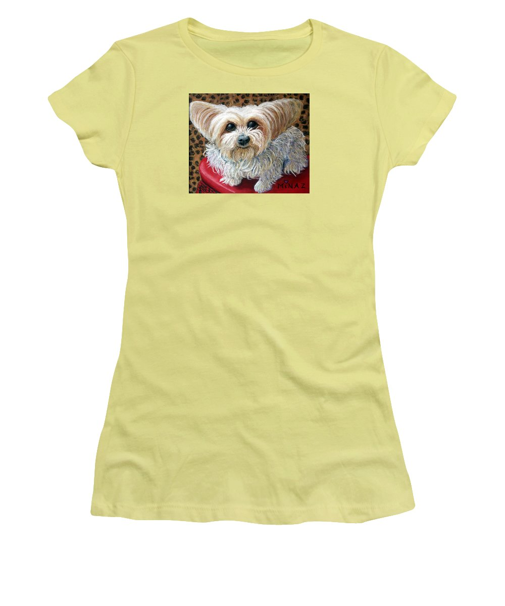 Dog Women's T-Shirt (Athletic Fit) featuring the painting My Friend by Minaz Jantz