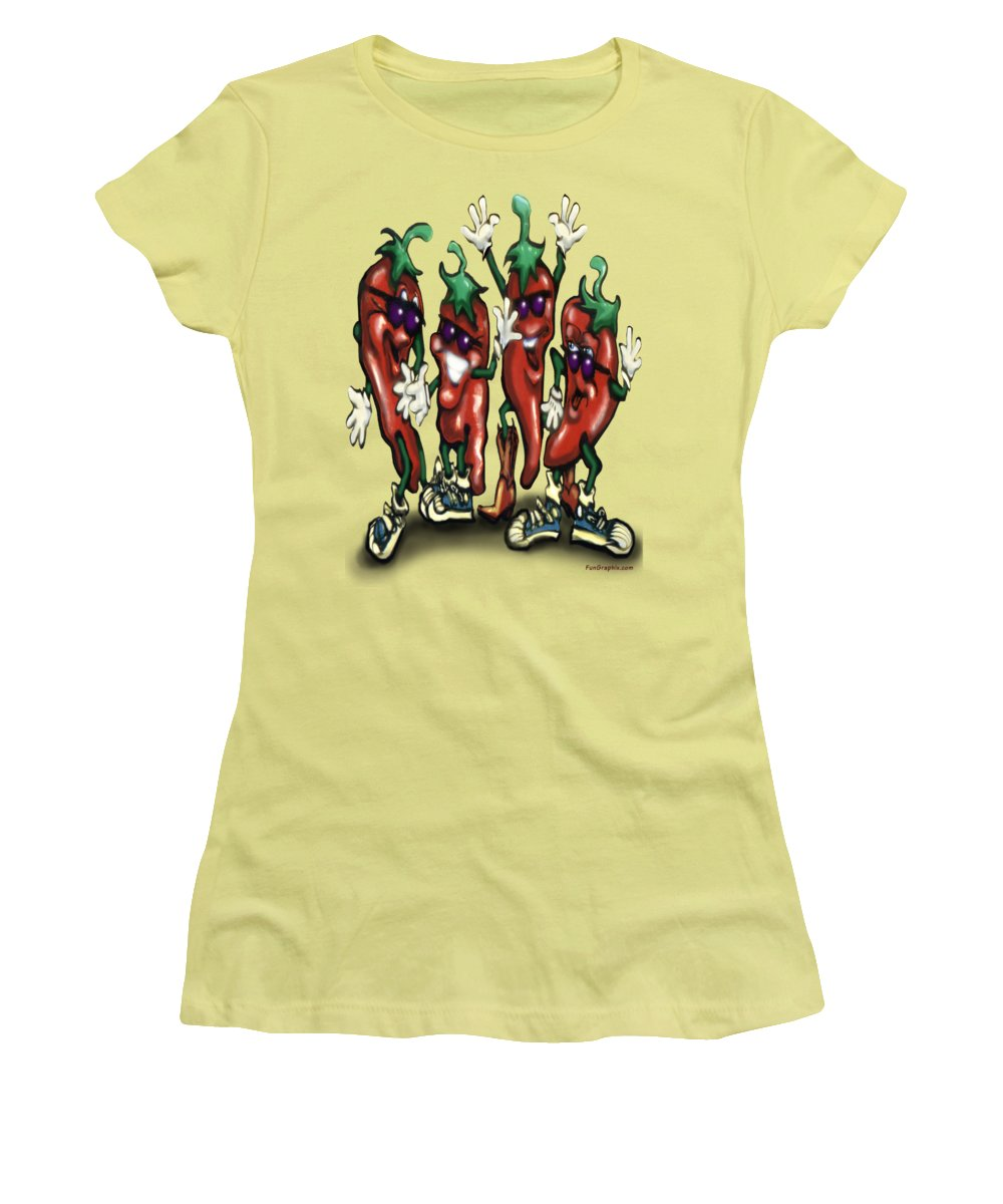 Chili Women's T-Shirt (Athletic Fit) featuring the digital art Chili Peppers Gang by Kevin Middleton