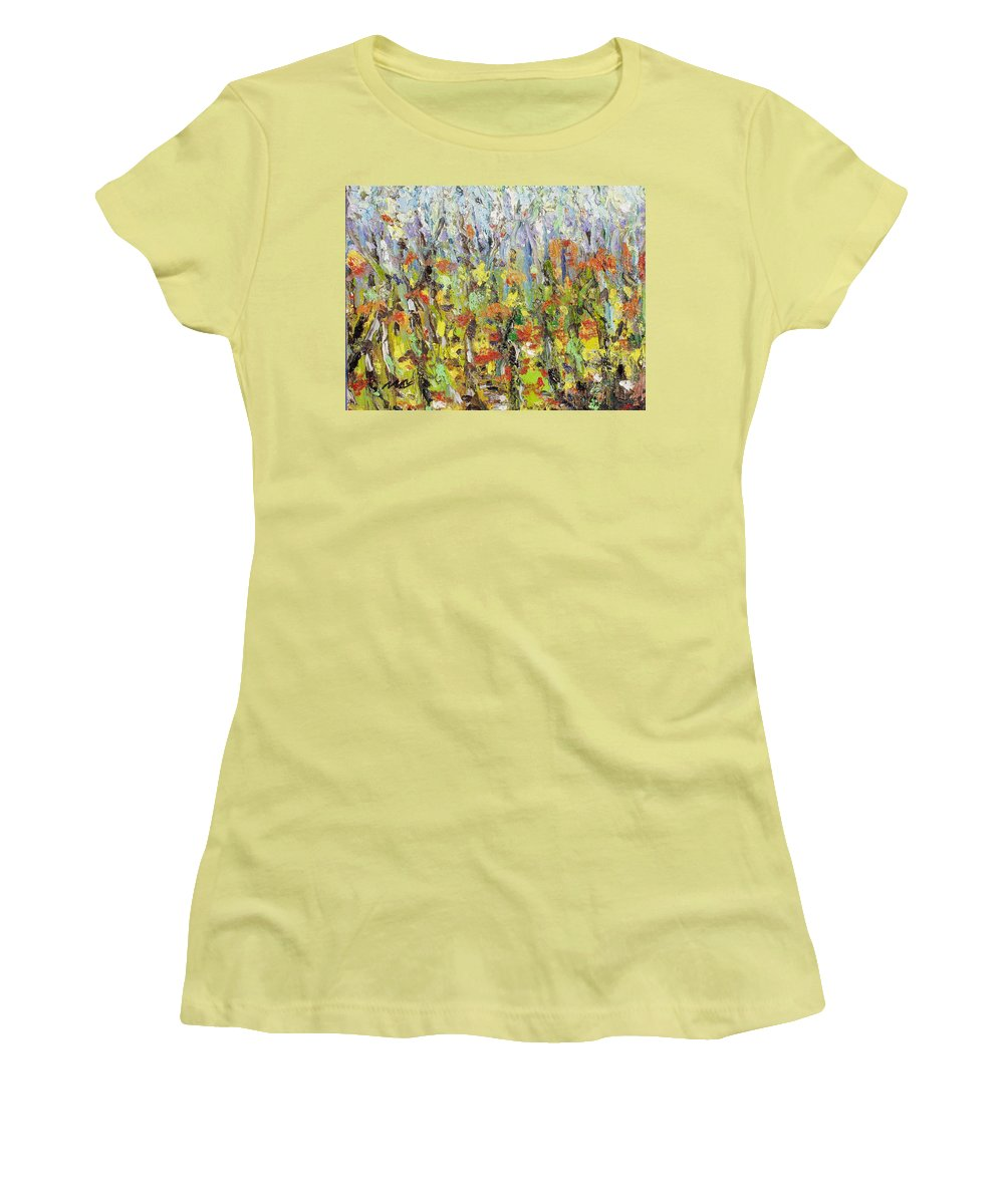 Autumn Abstract Paintings Women's T-Shirt (Athletic Fit) featuring the painting Colorful Forest by Seon-Jeong Kim