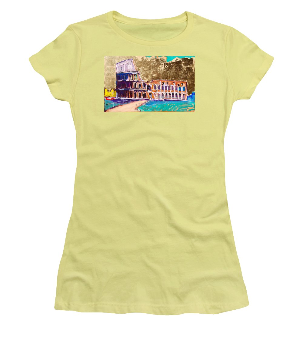 Rome Women's T-Shirt (Athletic Fit) featuring the painting Colosseum by Kurt Hausmann