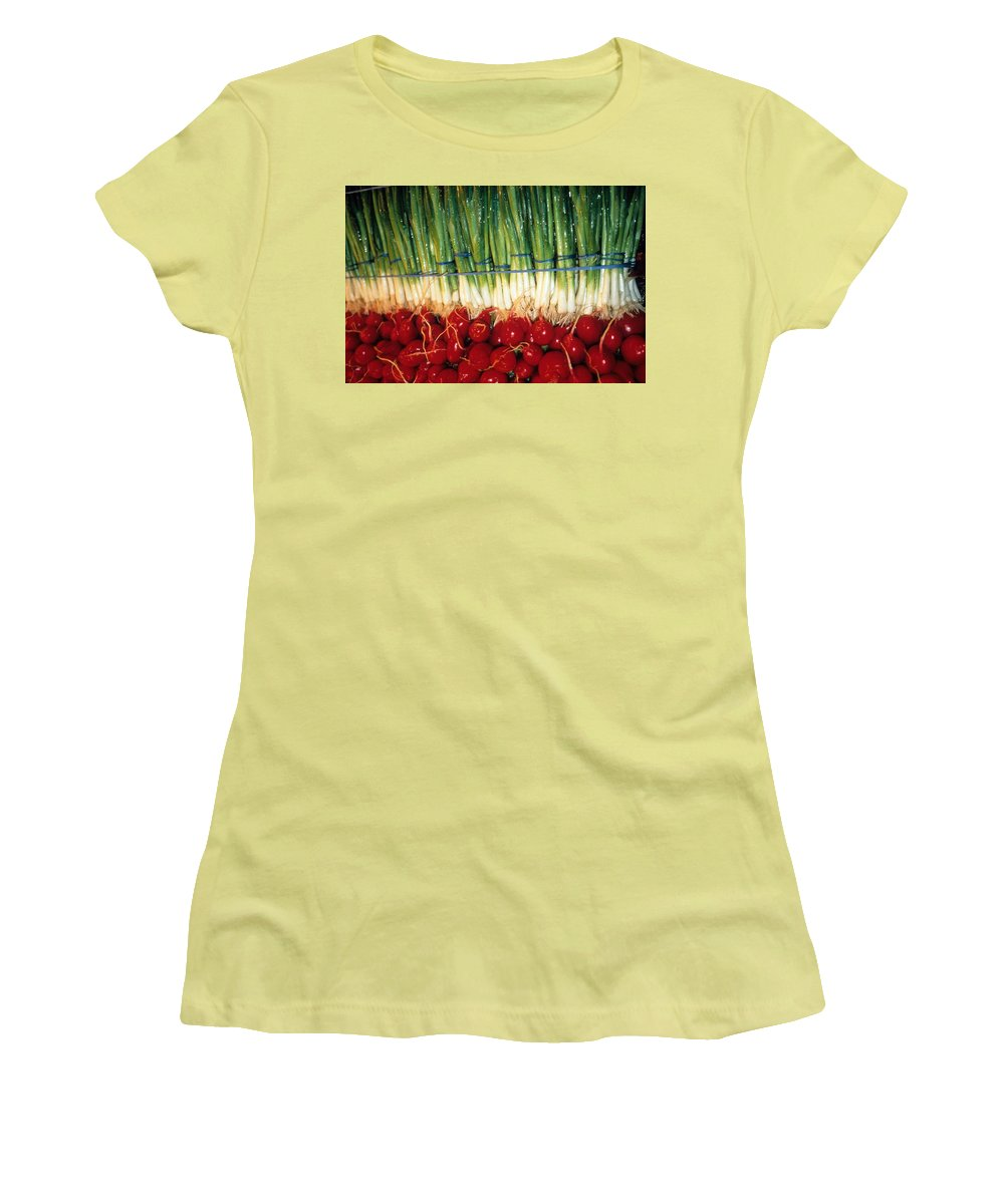 Vegetable Women's T-Shirt (Athletic Fit) featuring the photograph Comlimentary Vegetables by Laurie Paci