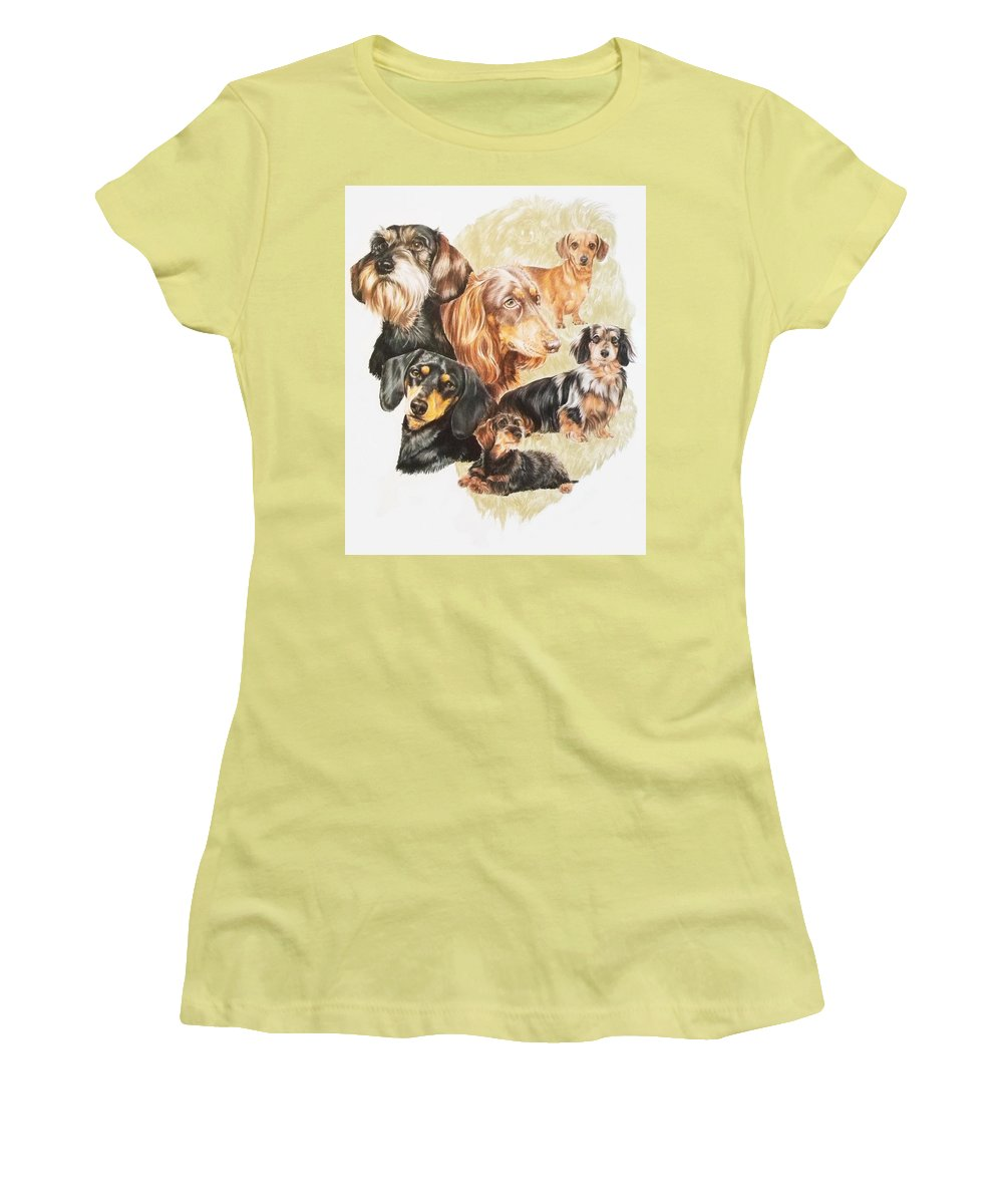 Purebred Dog Women's T-Shirt (Athletic Fit) featuring the drawing Dachshund W/ghost by Barbara Keith