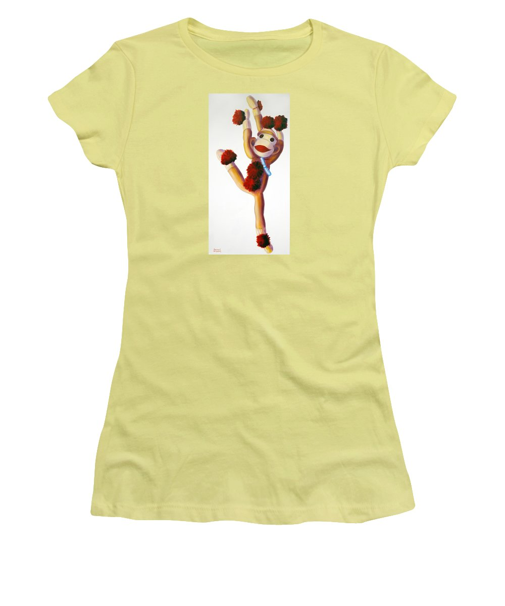 Dancer Women's T-Shirt (Athletic Fit) featuring the painting Dancer Made Of Sockies by Shannon Grissom