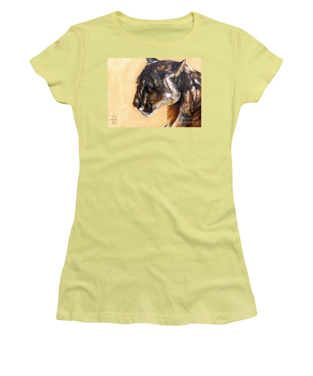 Catamount Women's T-Shirt (Athletic Fit) featuring the painting Dappled by J W Baker
