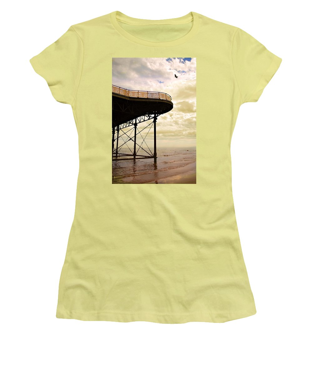 Victoria Women's T-Shirt (Athletic Fit) featuring the photograph Dawn At Colwyn Bay Victoria Pier Conwy North Wales Uk by Mal Bray