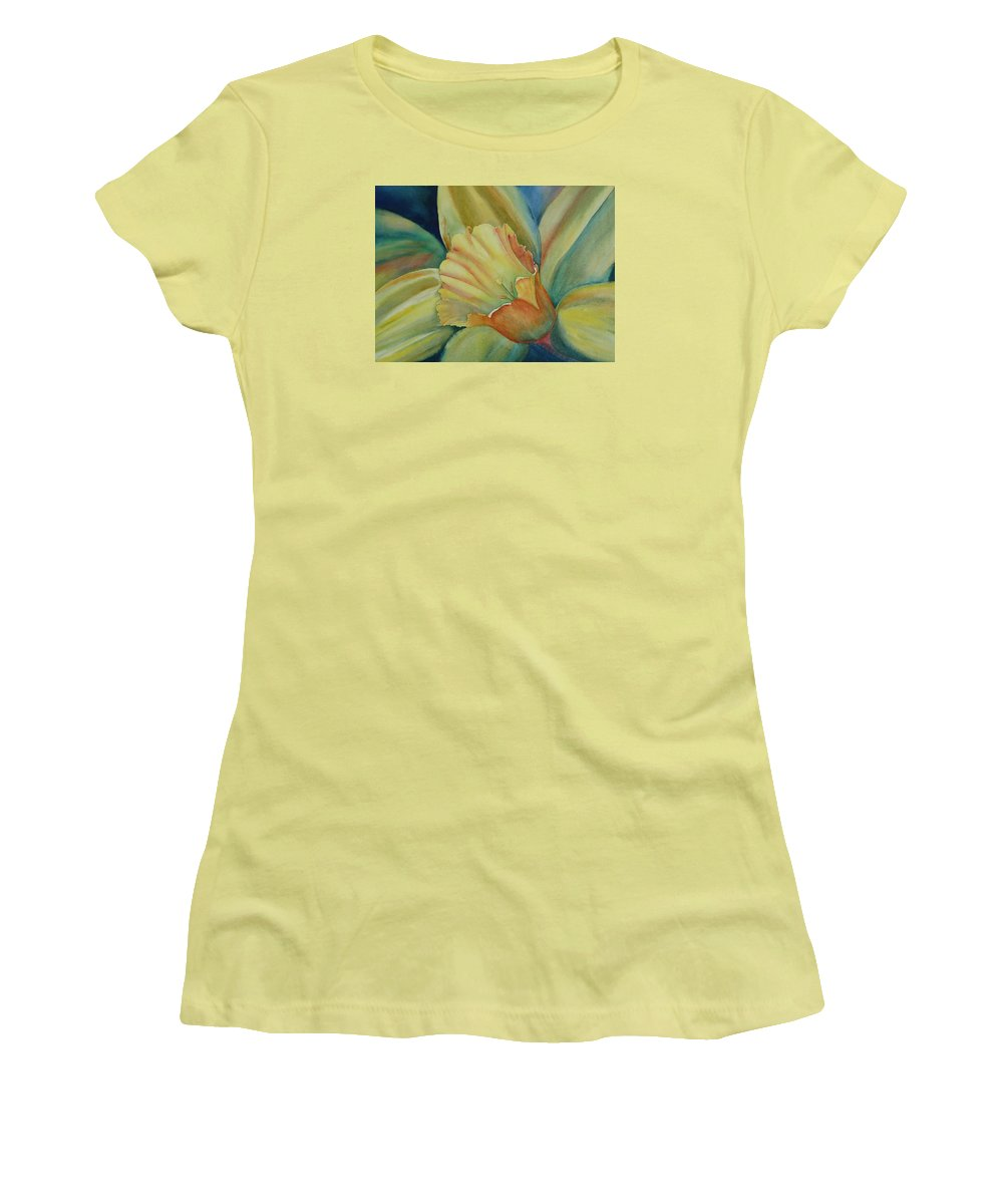 Flower Women's T-Shirt (Athletic Fit) featuring the painting Dazzling Daffodil by Ruth Kamenev