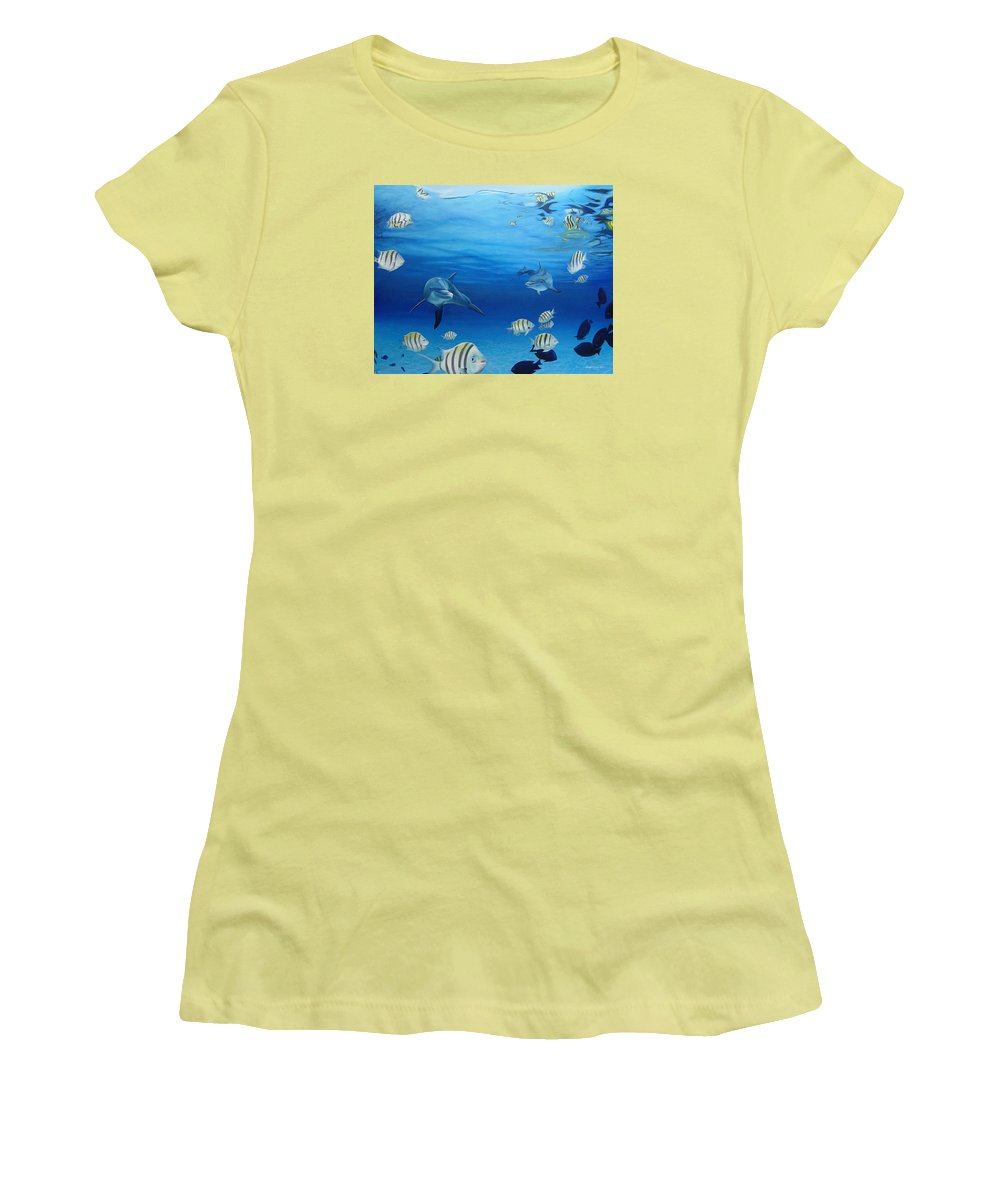 Seascape Women's T-Shirt (Athletic Fit) featuring the painting Delphinus by Angel Ortiz