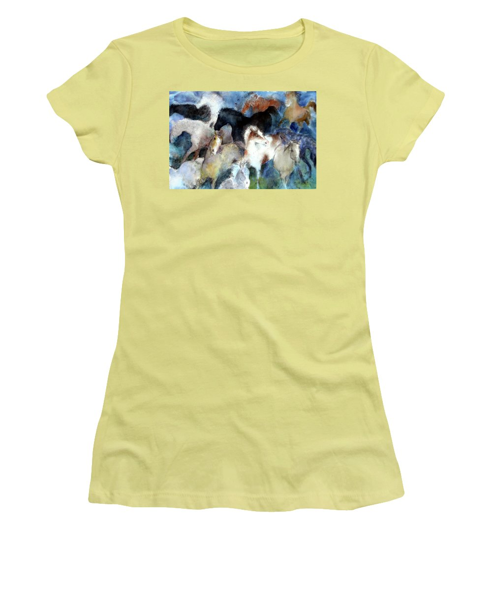 Horses Women's T-Shirt (Athletic Fit) featuring the painting Dream Of Wild Horses by Christie Michelsen