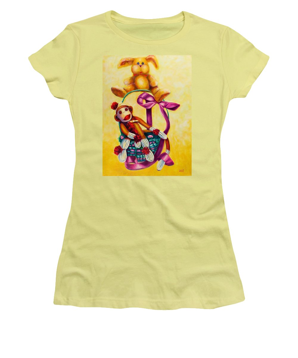 Easter Women's T-Shirt (Athletic Fit) featuring the painting Easter Made Of Sockies by Shannon Grissom