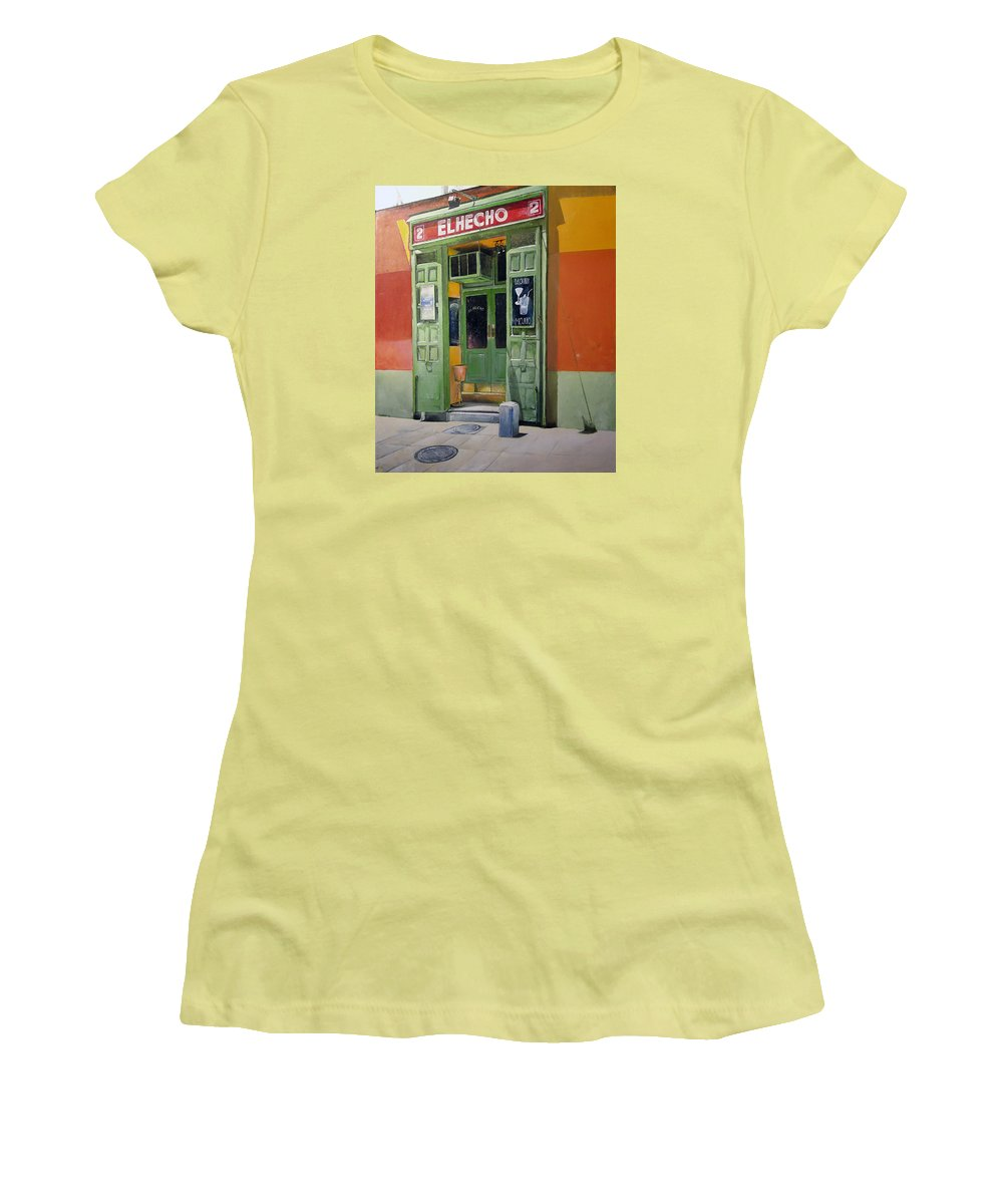 Hecho Women's T-Shirt (Athletic Fit) featuring the painting El Hecho Pub by Tomas Castano
