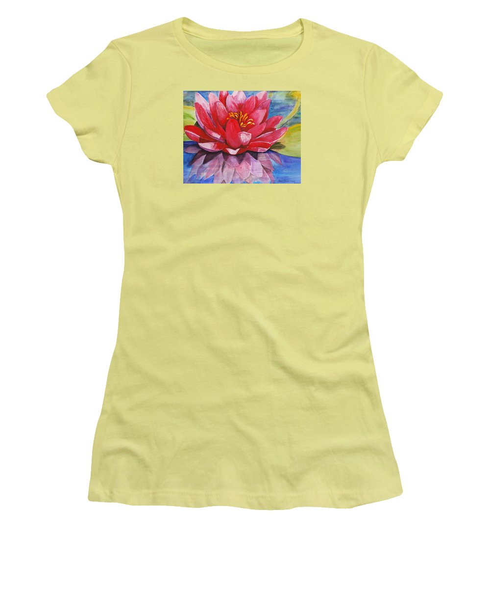 Lily Women's T-Shirt (Athletic Fit) featuring the painting Ela Lily by Jun Jamosmos