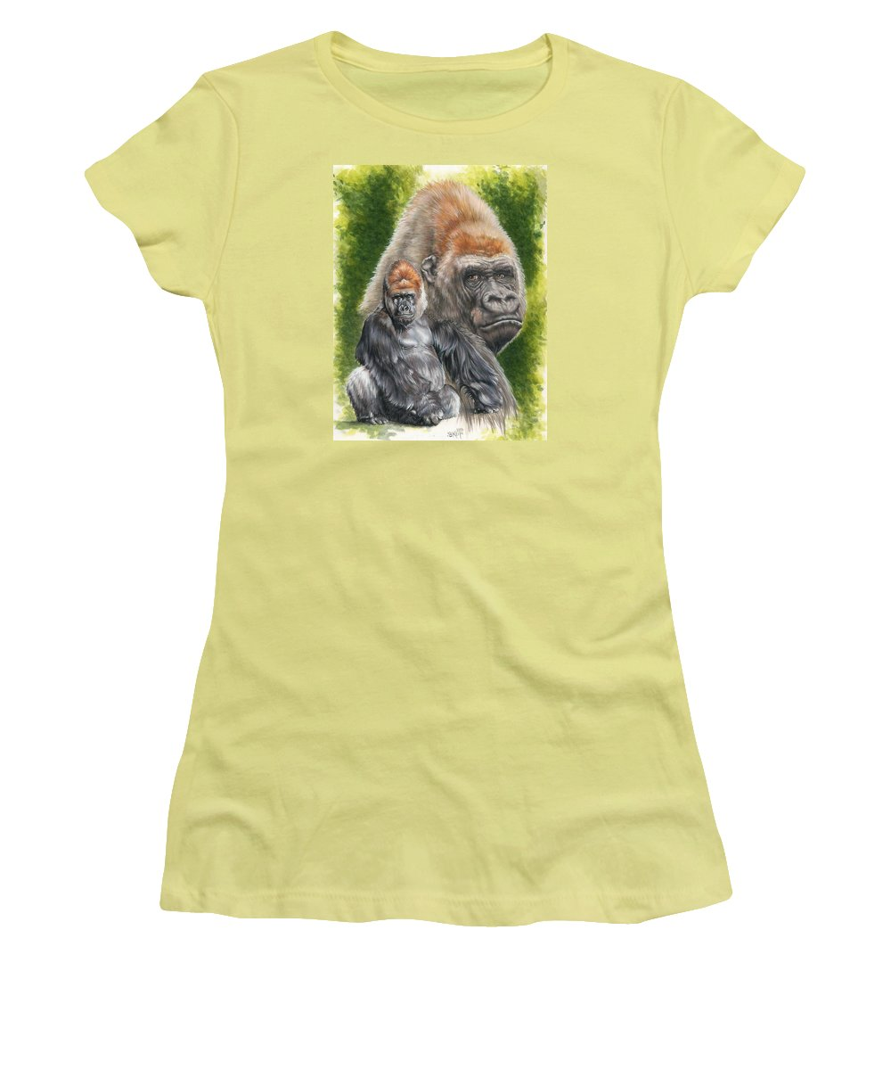 Gorilla Women's T-Shirt (Athletic Fit) featuring the mixed media Eloquent by Barbara Keith