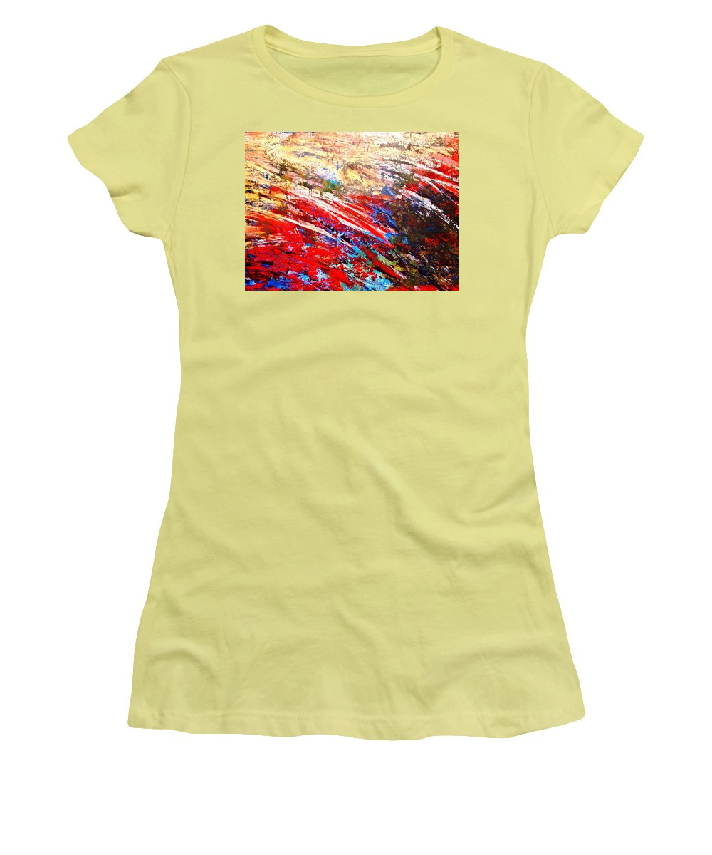 Expressionism Women's T-Shirt (Athletic Fit) featuring the painting Emotional Explosion by Natalie Holland