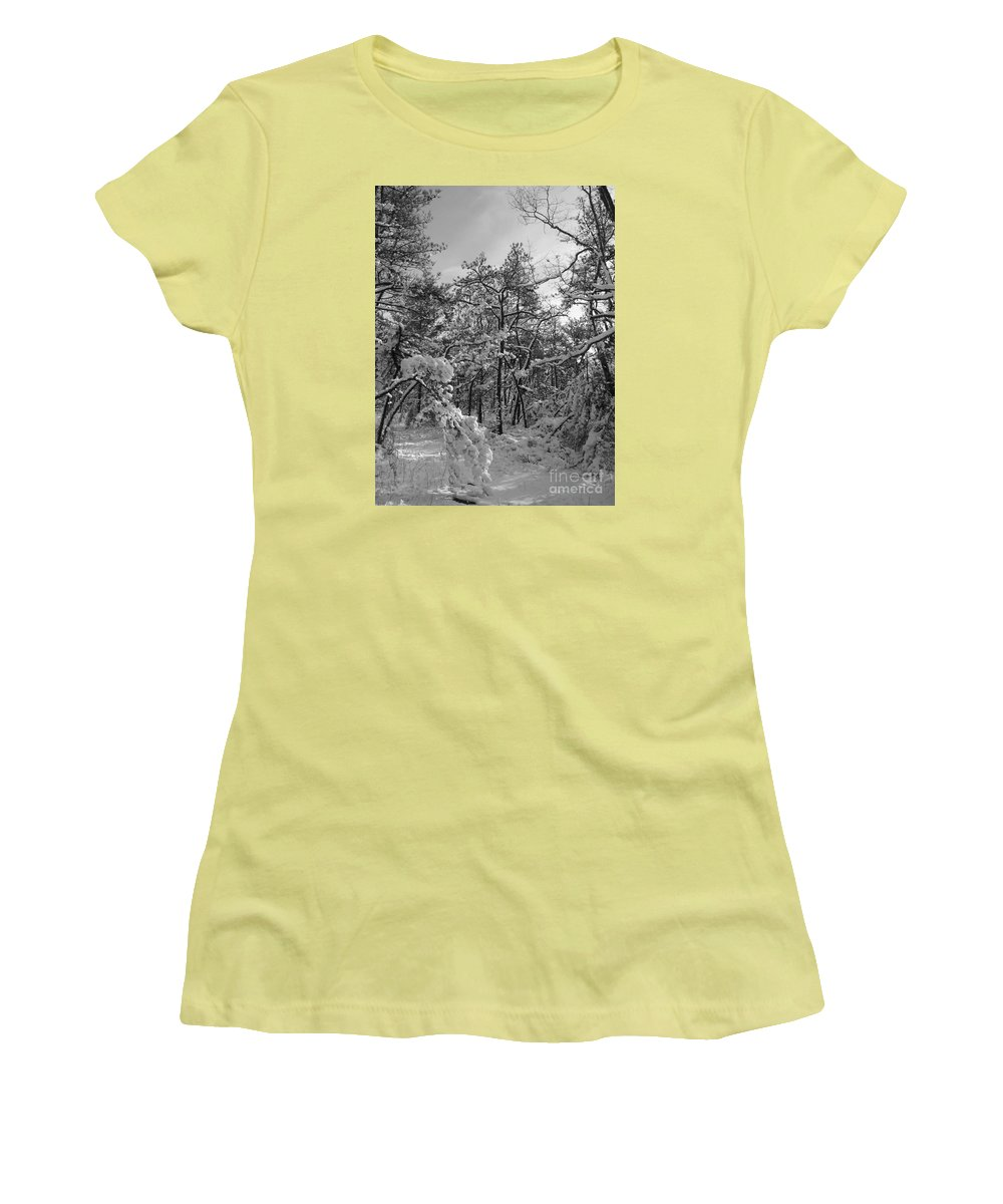 Black And White Women's T-Shirt (Athletic Fit) featuring the photograph Empty Travel by Chad Natti