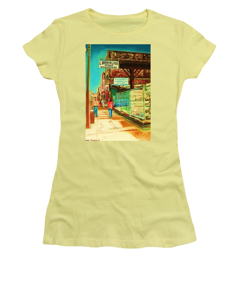 Berson Monuments Women's T-Shirt (Athletic Fit) featuring the painting End Of Days by Carole Spandau