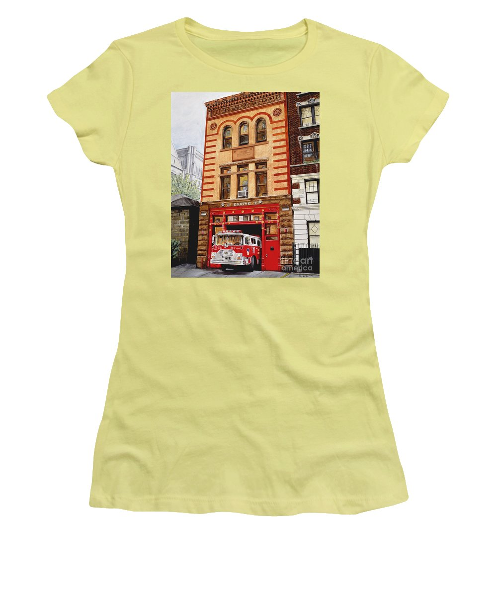 Firehouse Women's T-Shirt (Athletic Fit) featuring the painting Engine Company 47 by Paul Walsh