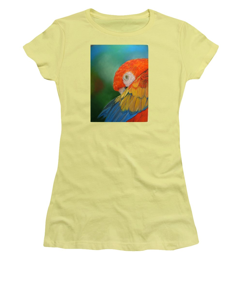 Bird Women's T-Shirt (Athletic Fit) featuring the painting Escondida by Ceci Watson