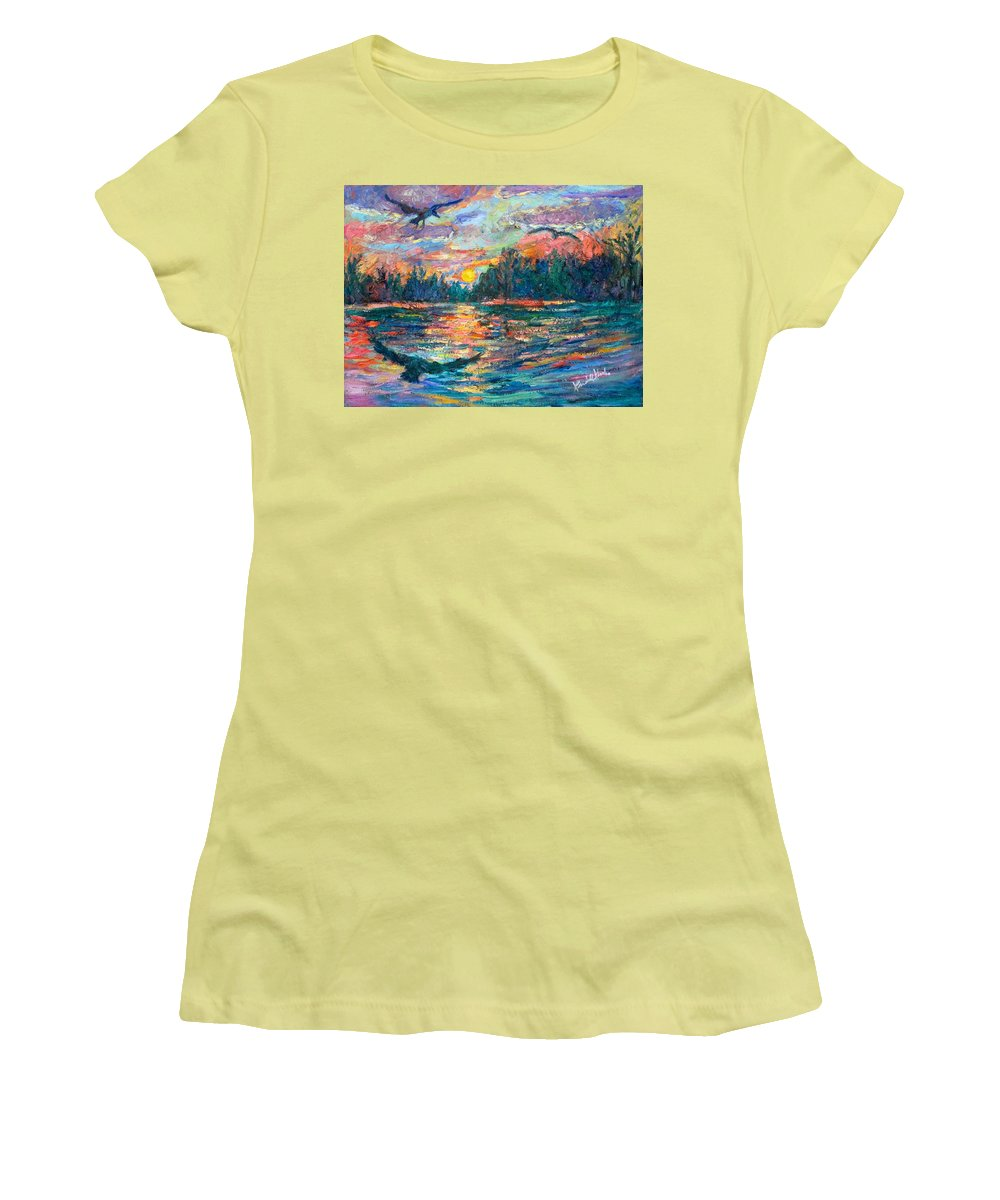 Landscape Women's T-Shirt (Athletic Fit) featuring the painting Evening Flight by Kendall Kessler