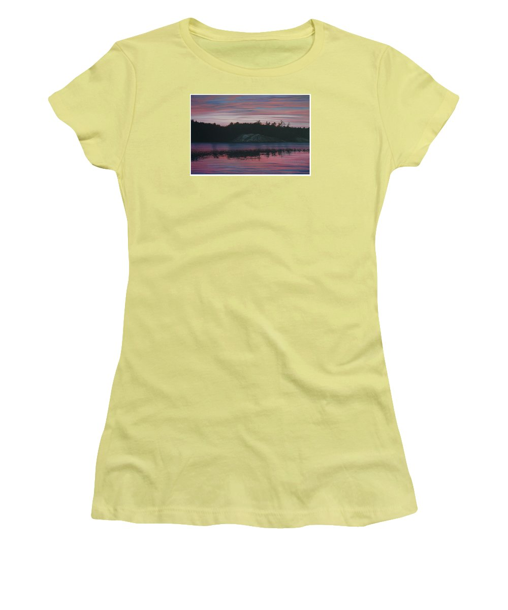 Landscape Women's T-Shirt (Athletic Fit) featuring the painting Evening In La Cloche by Jan Lyons