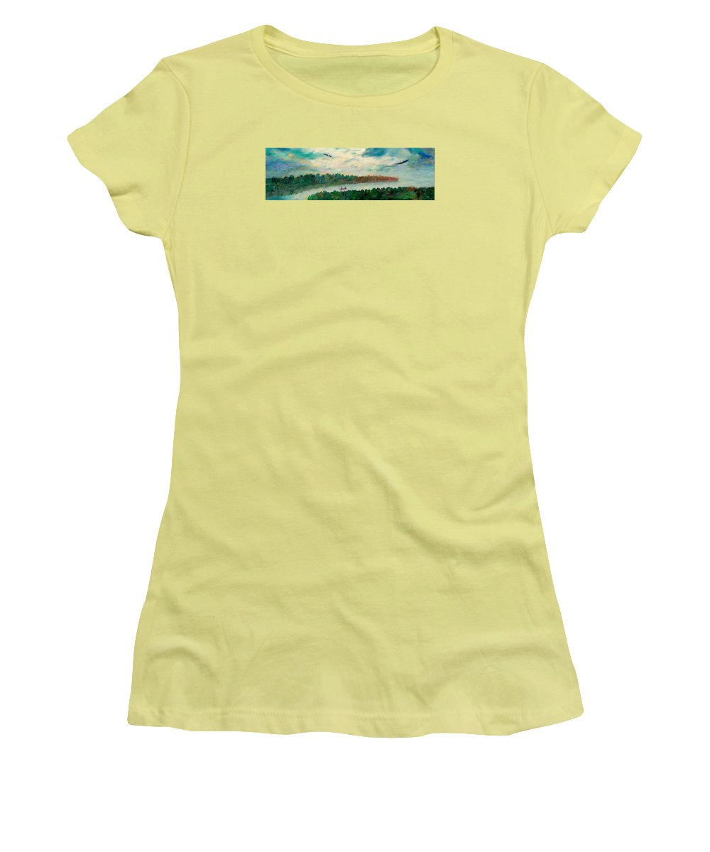Canoeing On The Big Canadian Lakes Women's T-Shirt (Junior Cut) featuring the painting Exploring Our Lake by Naomi Gerrard