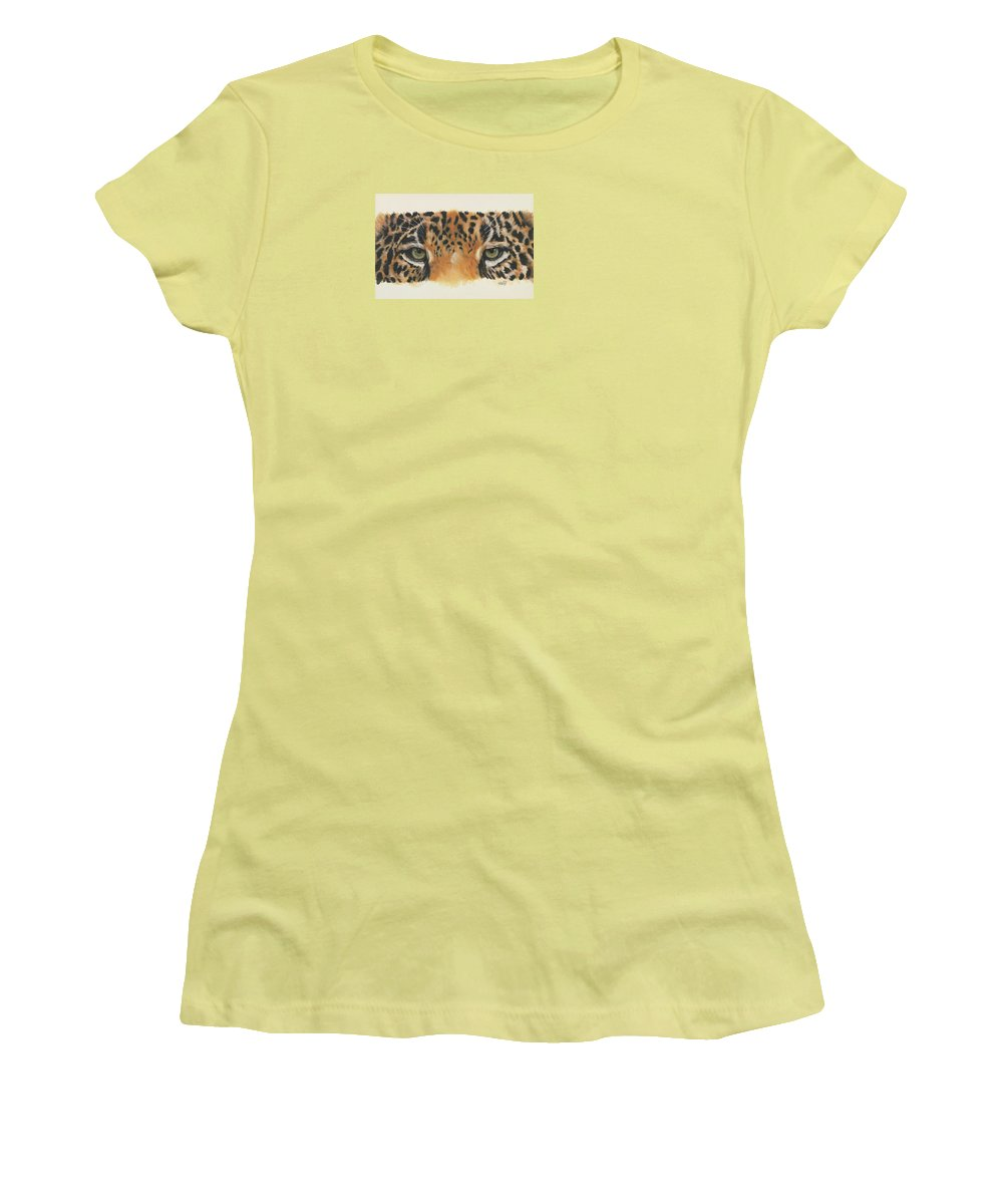 Big Cat Women's T-Shirt (Athletic Fit) featuring the painting Eye-catching Jaguar by Barbara Keith