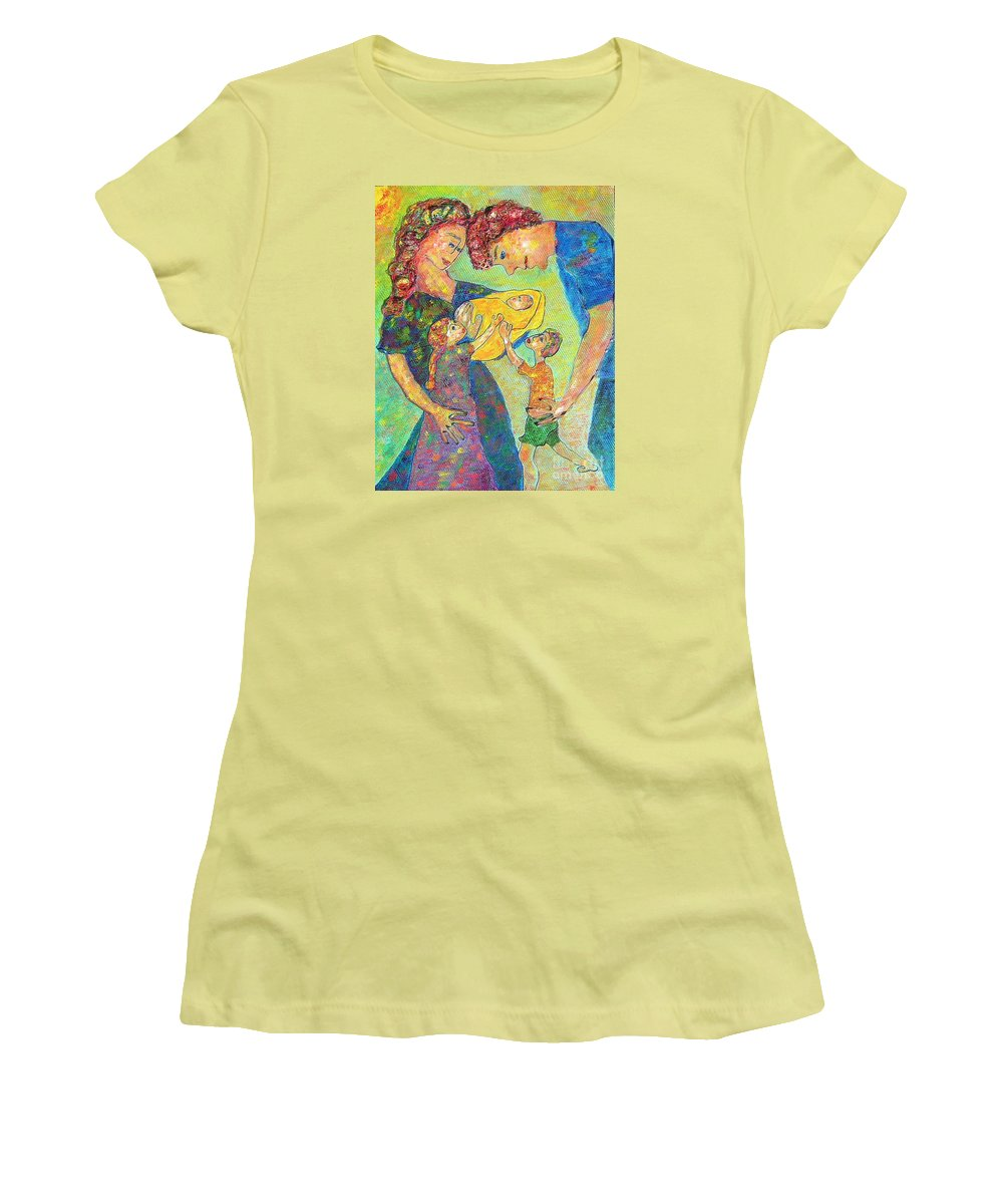 Family Enjoying Each Other Women's T-Shirt (Athletic Fit) featuring the painting Family Matters by Naomi Gerrard