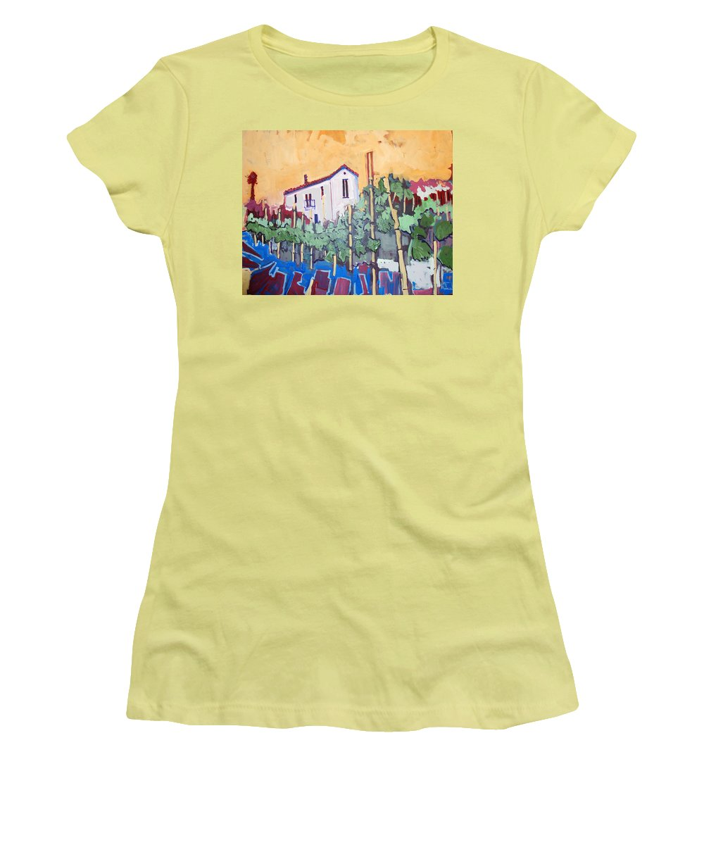 Farm House Women's T-Shirt (Athletic Fit) featuring the painting Farm House by Kurt Hausmann