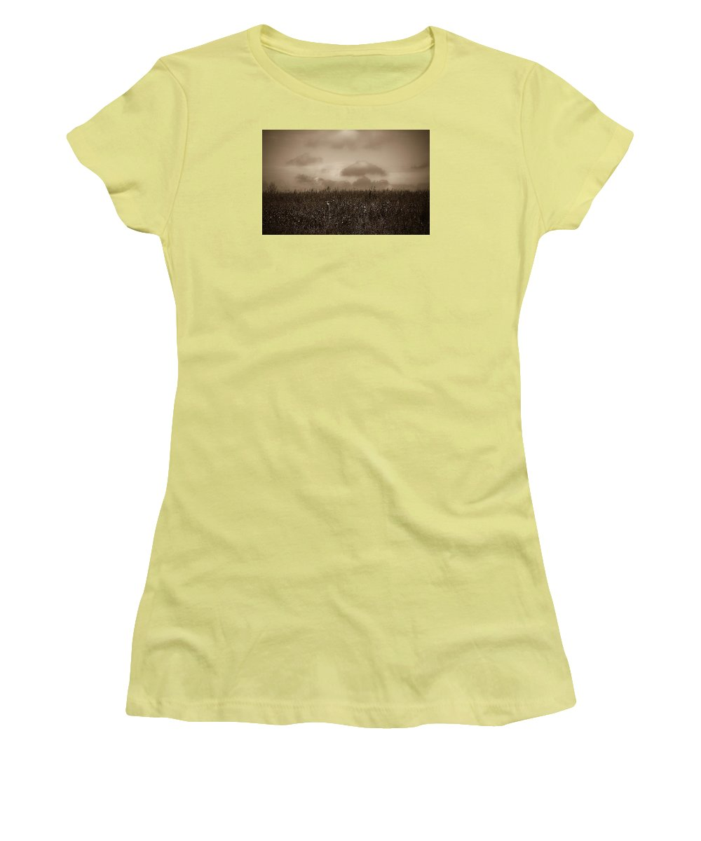 Poland Women's T-Shirt (Athletic Fit) featuring the photograph Field In Sepia Northern Poland by Michael Ziegler