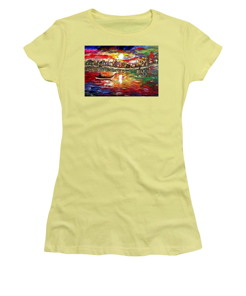 Art Women's T-Shirt (Athletic Fit) featuring the painting Fishing In The Moonlight by Luiza Vizoli