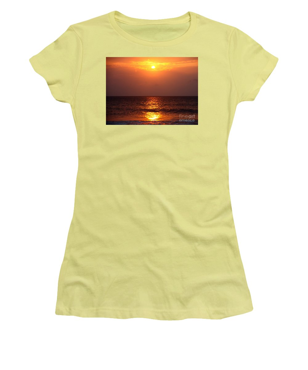 Sunrise Women's T-Shirt (Athletic Fit) featuring the photograph Flaming Sunrise by Nadine Rippelmeyer