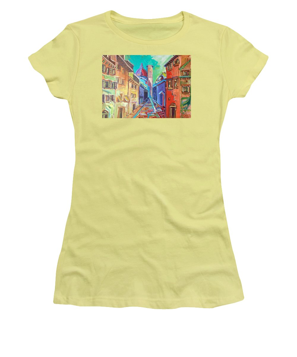 City Women's T-Shirt (Athletic Fit) featuring the painting Florence by Kurt Hausmann