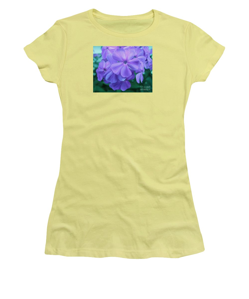 Purple Flowers Artwork Women's T-Shirt (Athletic Fit) featuring the photograph Flowers In The Garden by Reb Frost