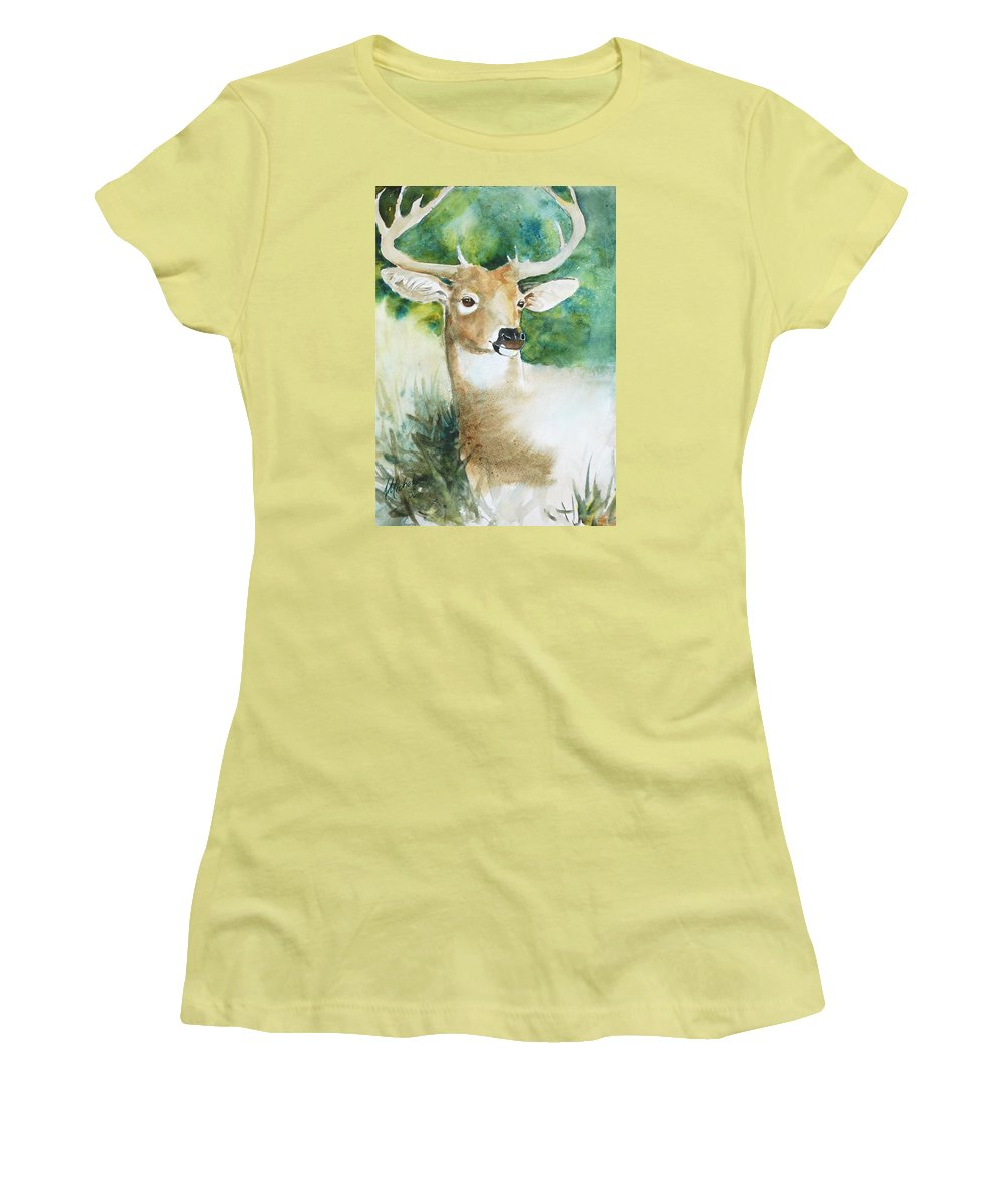 Deer Women's T-Shirt (Athletic Fit) featuring the painting Forest Spirit by Christie Michelsen