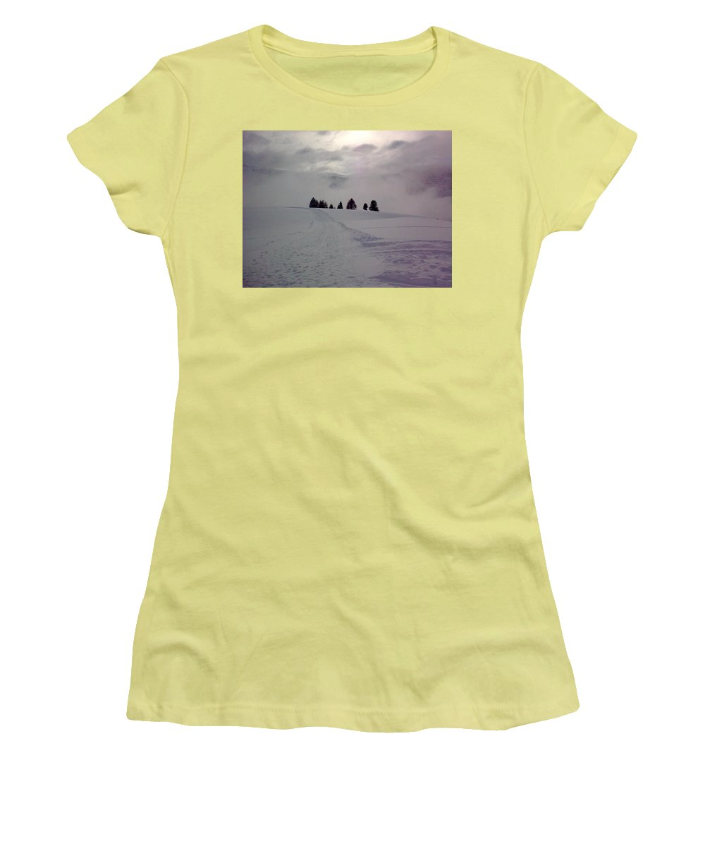 Landscape Women's T-Shirt (Athletic Fit) featuring the photograph Forlorn Trees by Valerie Ornstein