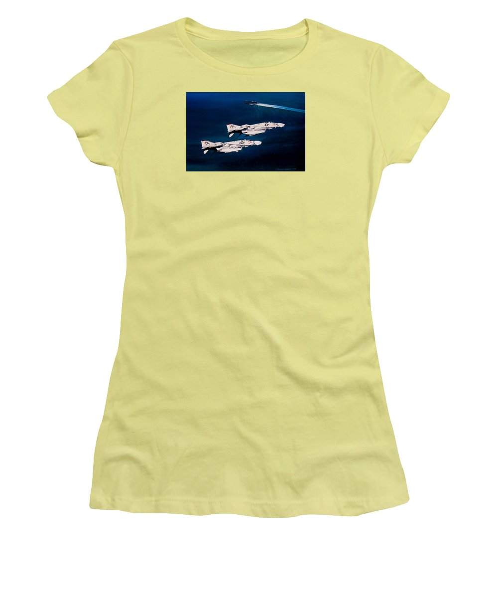 Military Women's T-Shirt (Athletic Fit) featuring the painting Forrestal S Phantoms by Marc Stewart