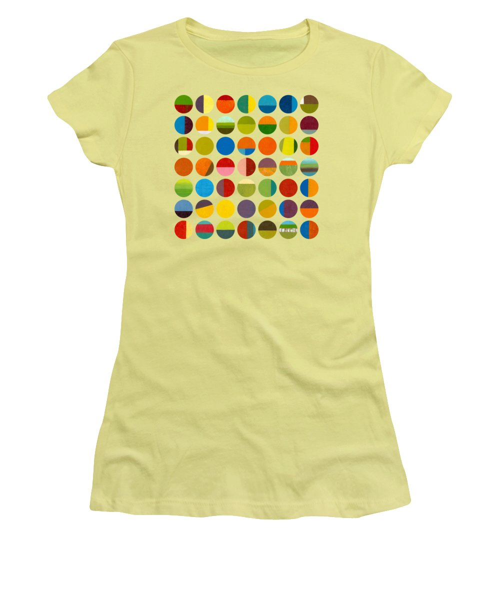 Colorful Women's T-Shirt (Athletic Fit) featuring the painting Forty Nine Circles by Michelle Calkins