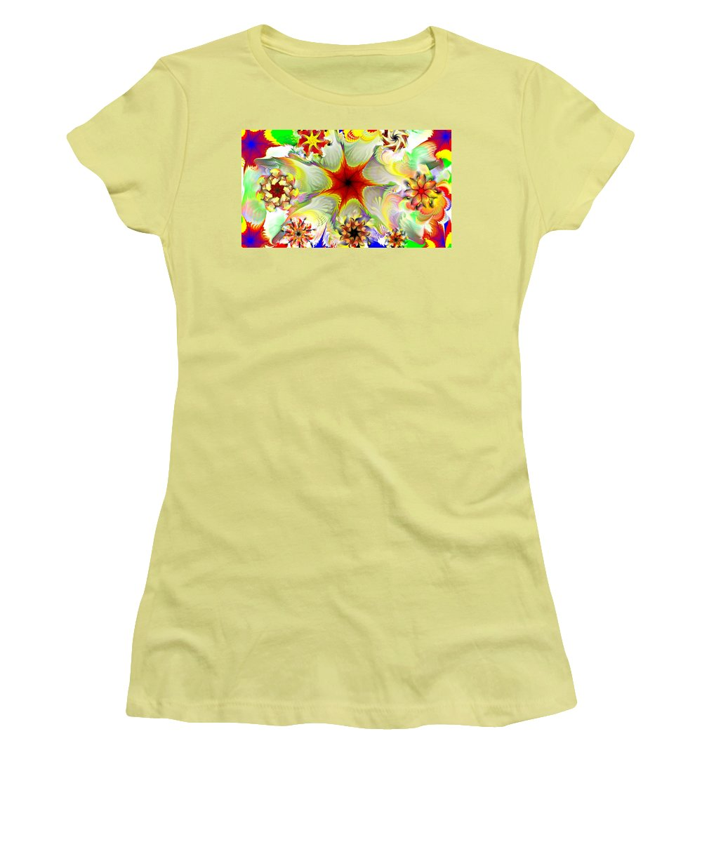 Abstract Digital Painting Women's T-Shirt (Athletic Fit) featuring the digital art Fractal Garden 9 by David Lane