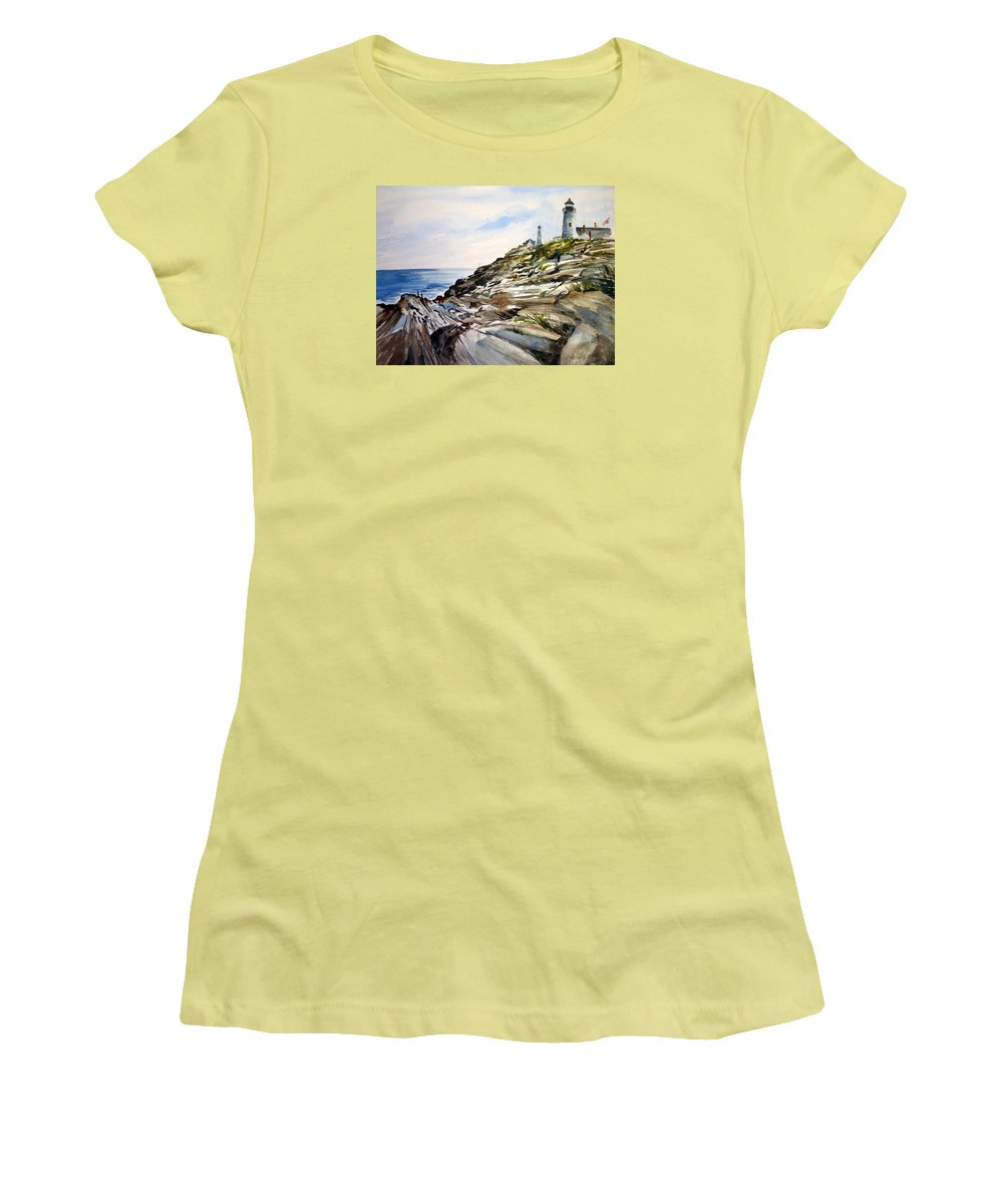 Pemaquid Light House;rocks;ocean;maine;pemaquid;light;lighthouse; Women's T-Shirt (Athletic Fit) featuring the painting From The Rocks Below by Lois Mountz