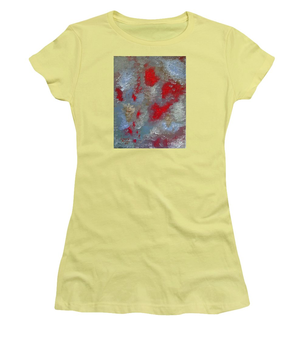 Abstract Women's T-Shirt (Athletic Fit) featuring the painting Frozen Street by Laurie Morgan