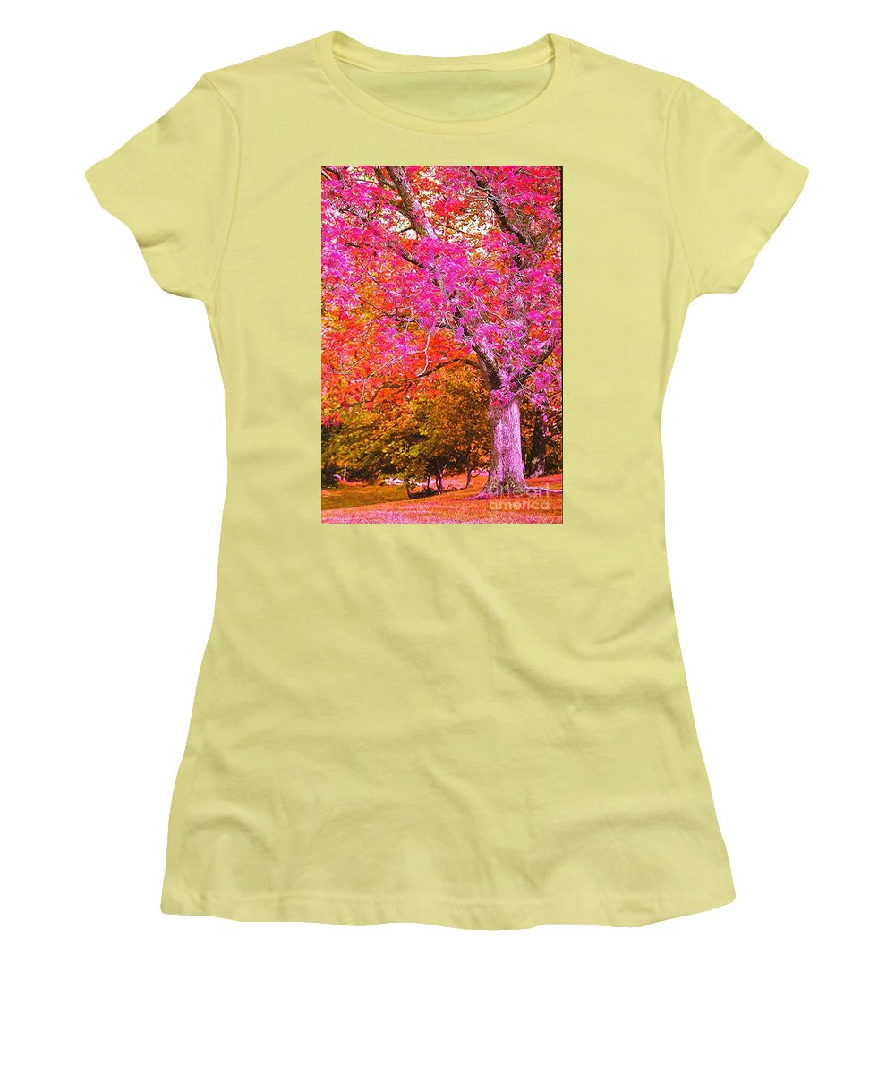 Fuschia Women's T-Shirt (Athletic Fit) featuring the photograph Fuschia Tree by Nadine Rippelmeyer