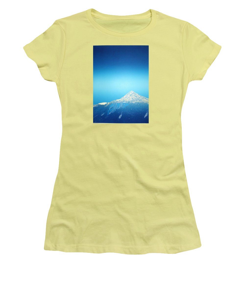 Women's T-Shirt (Athletic Fit) featuring the drawing Gaustatoppen. by Jarle Rosseland