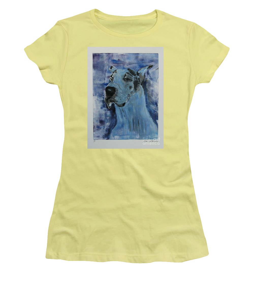 Great Dane Women's T-Shirt (Athletic Fit) featuring the mixed media Gentle Giant by Cori Solomon