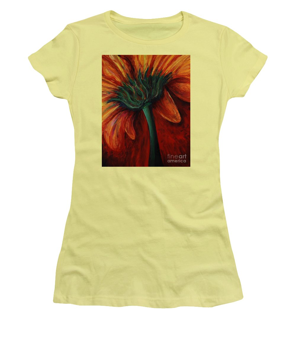 Gerbera Daisy.daisy Women's T-Shirt (Athletic Fit) featuring the painting Gerbera Daisy by Nadine Rippelmeyer