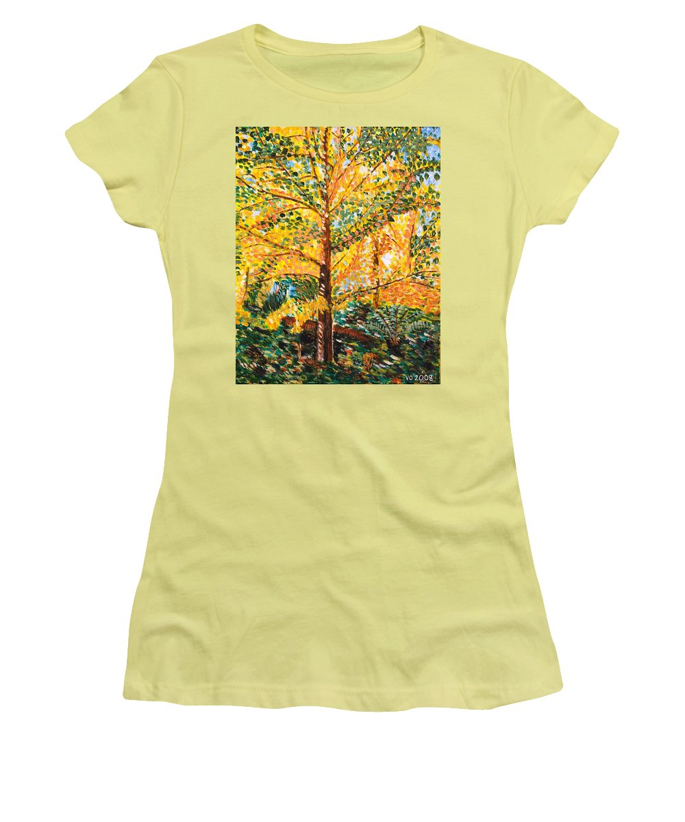Tree Women's T-Shirt (Athletic Fit) featuring the painting Gingko Tree by Valerie Ornstein