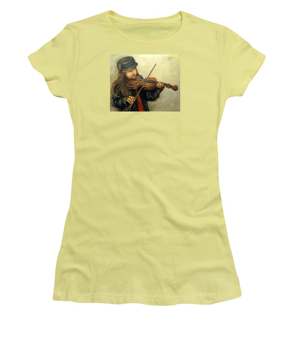Girl Kid Child Music Violin Portrait Figurative Women's T-Shirt (Athletic Fit) featuring the painting Girl And Her Violin by Natalia Tejera