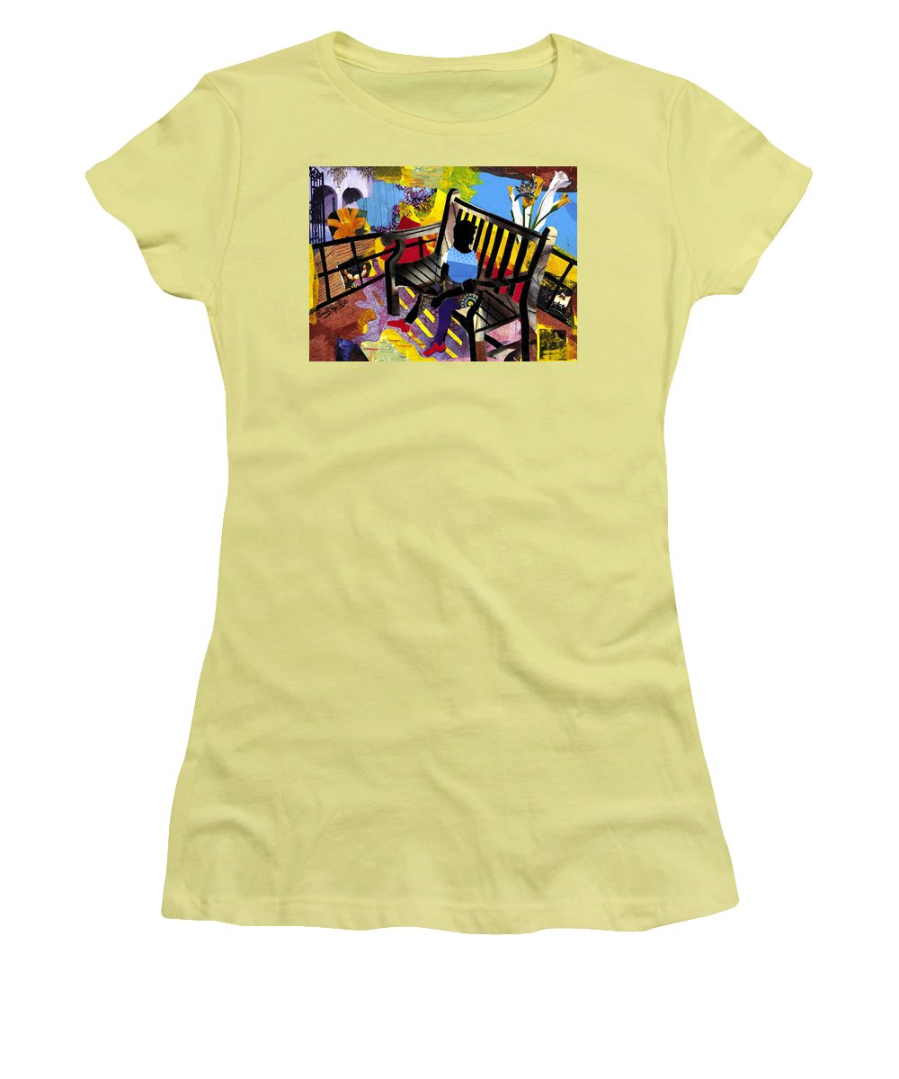 Everett Spruill Women's T-Shirt (Athletic Fit) featuring the painting Girl In Red Shoes by Everett Spruill