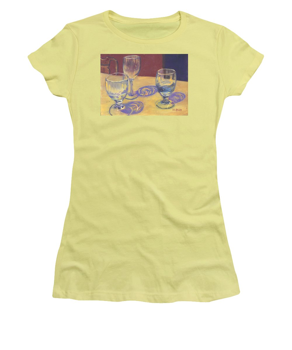 Glasses Women's T-Shirt (Athletic Fit) featuring the painting Glasslights by Sharon E Allen