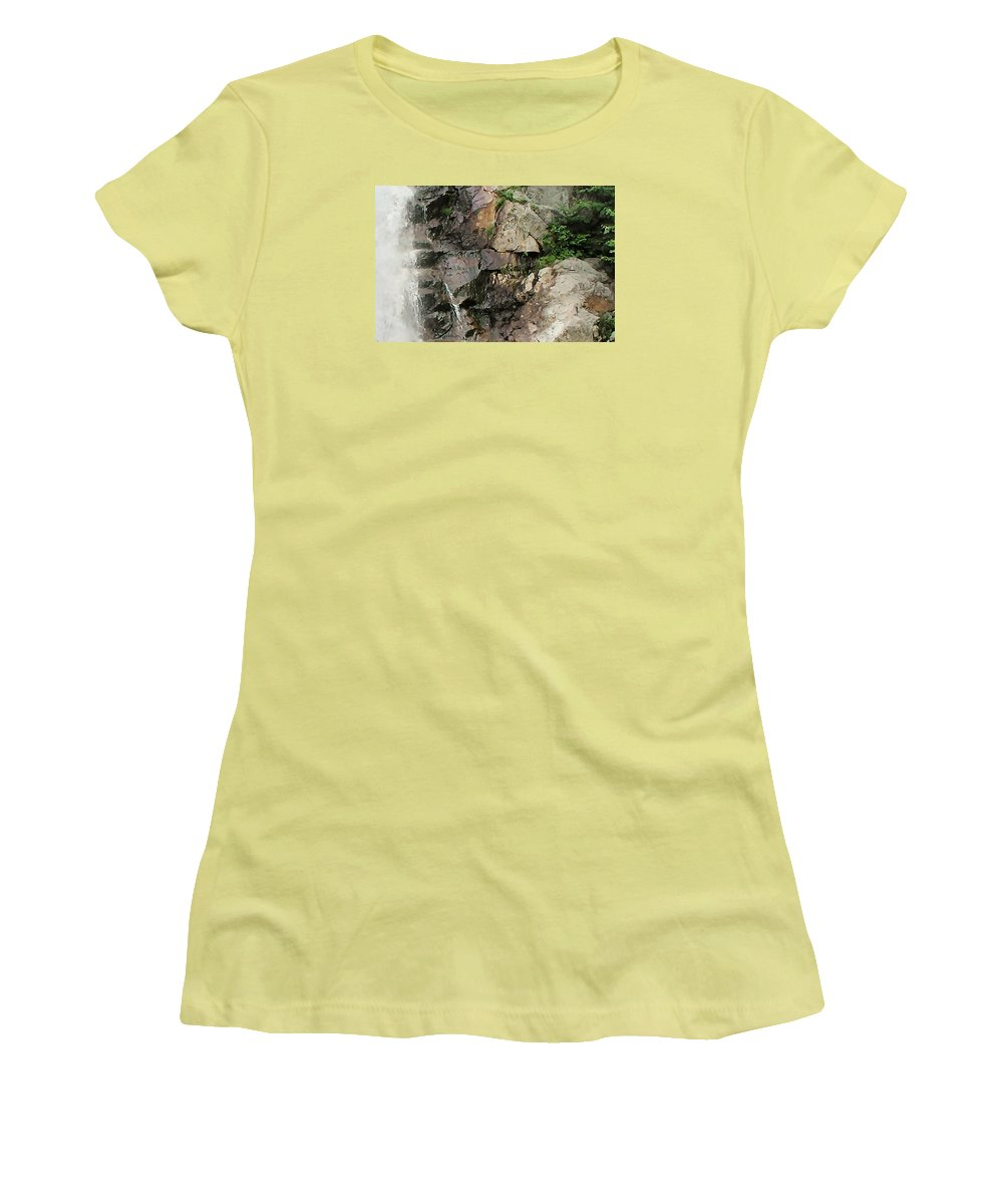 Waterfall Women's T-Shirt (Athletic Fit) featuring the photograph Glen Falls Abstract by Dave Martsolf