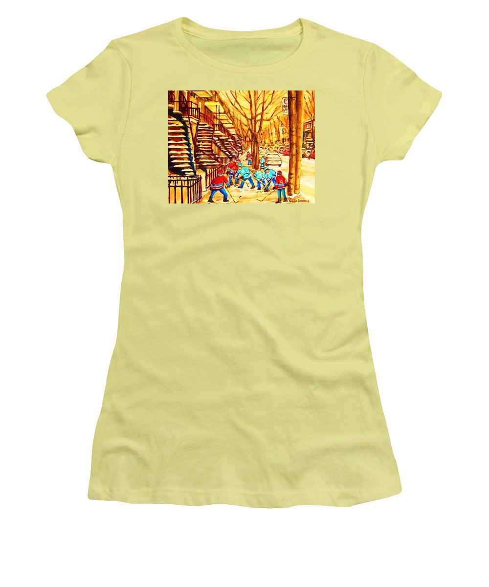 Golden Days Women's T-Shirt (Athletic Fit) featuring the painting Glory Days by Carole Spandau
